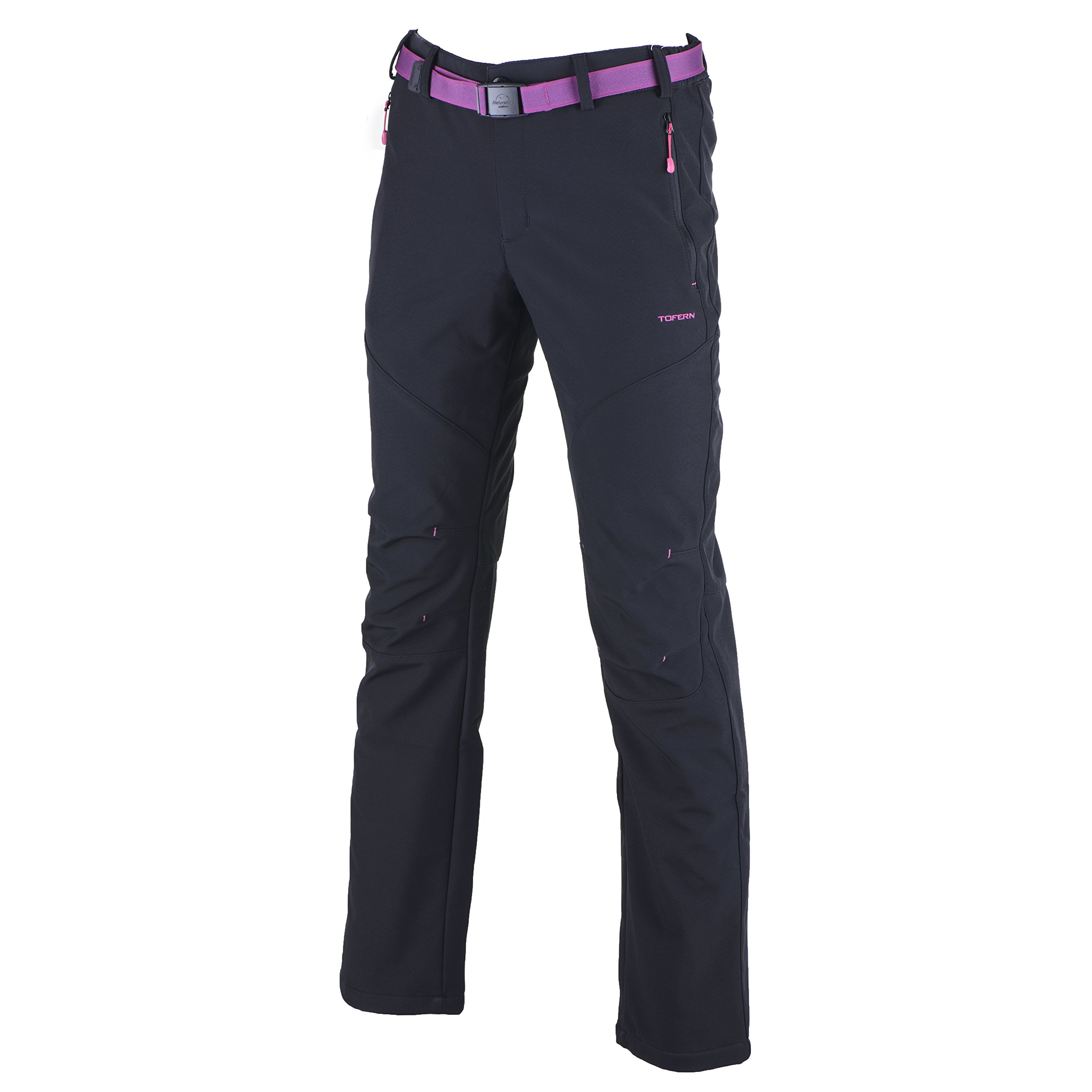 Tofern Womens Winter Warm Breathable Waterproof Windproof Softshell Pants Outdoor Hiking Climbing Camping Cycling Trousers, Black-New US Size L (Lable 2XL)