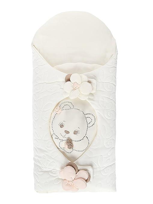Bebé niña algodón saco de dormir Nest pétalos con oso de peluche en color blanco bebé