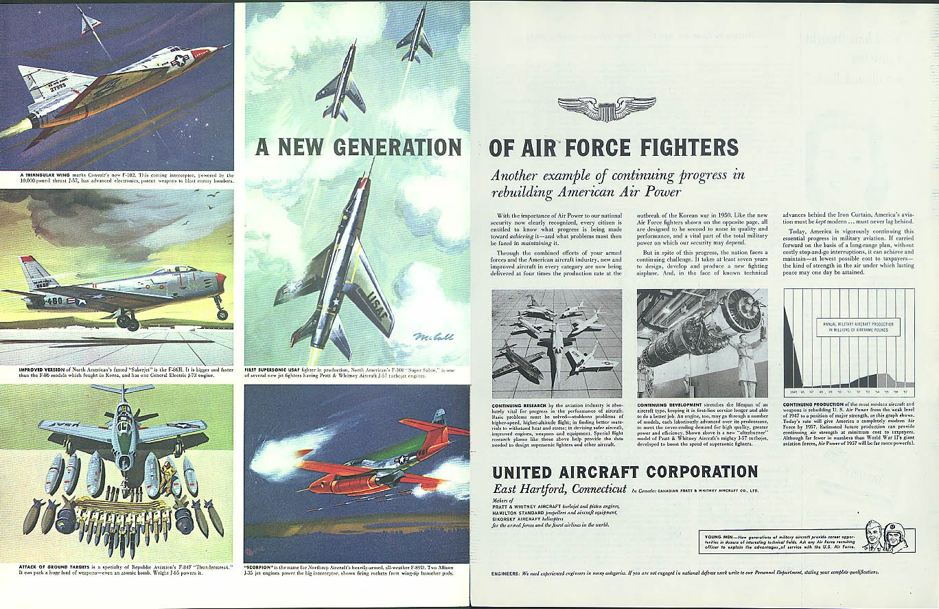 Amazon com: New Air Force Fighters United Aircraft ad 1954 F