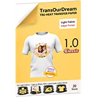 TransOurDream Tru-Iron on Heat Transfer Paper for Light Fabric (20 Sheets, A4) Iron-on Transfers Paper for White and…
