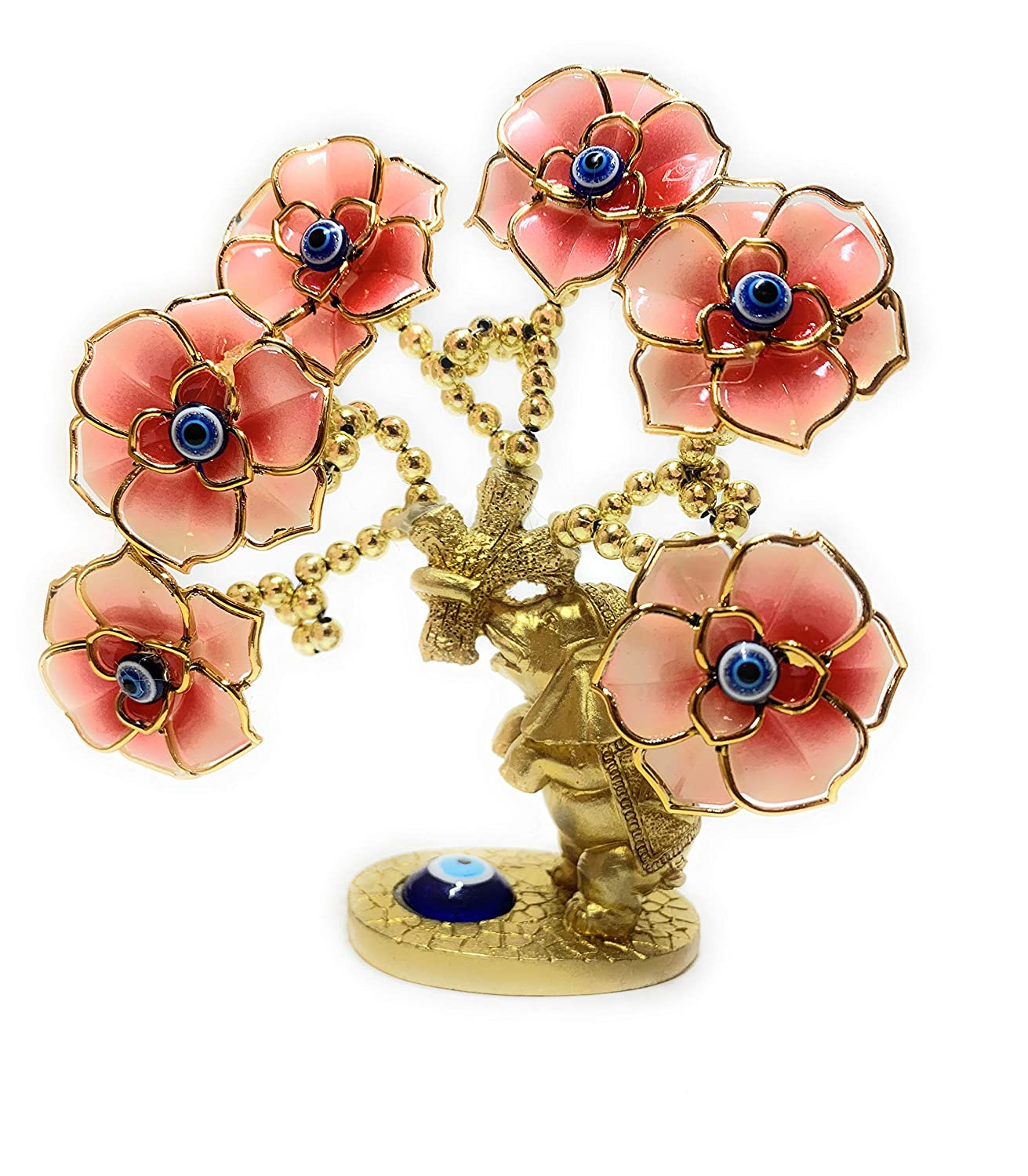 Lucky Evil Eye, Elephant and Flower Money Fortune Tree for Protection, Blessing, Strength and Power. A Beautiful Ornament for Home Table or Office Desk, Great Gift (Gold/Pink)