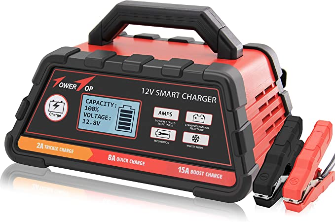 2 8 15a 12v Smart Battery Charger Maintainer Fully Automatic With Winter Mode Automotive Amazon Com