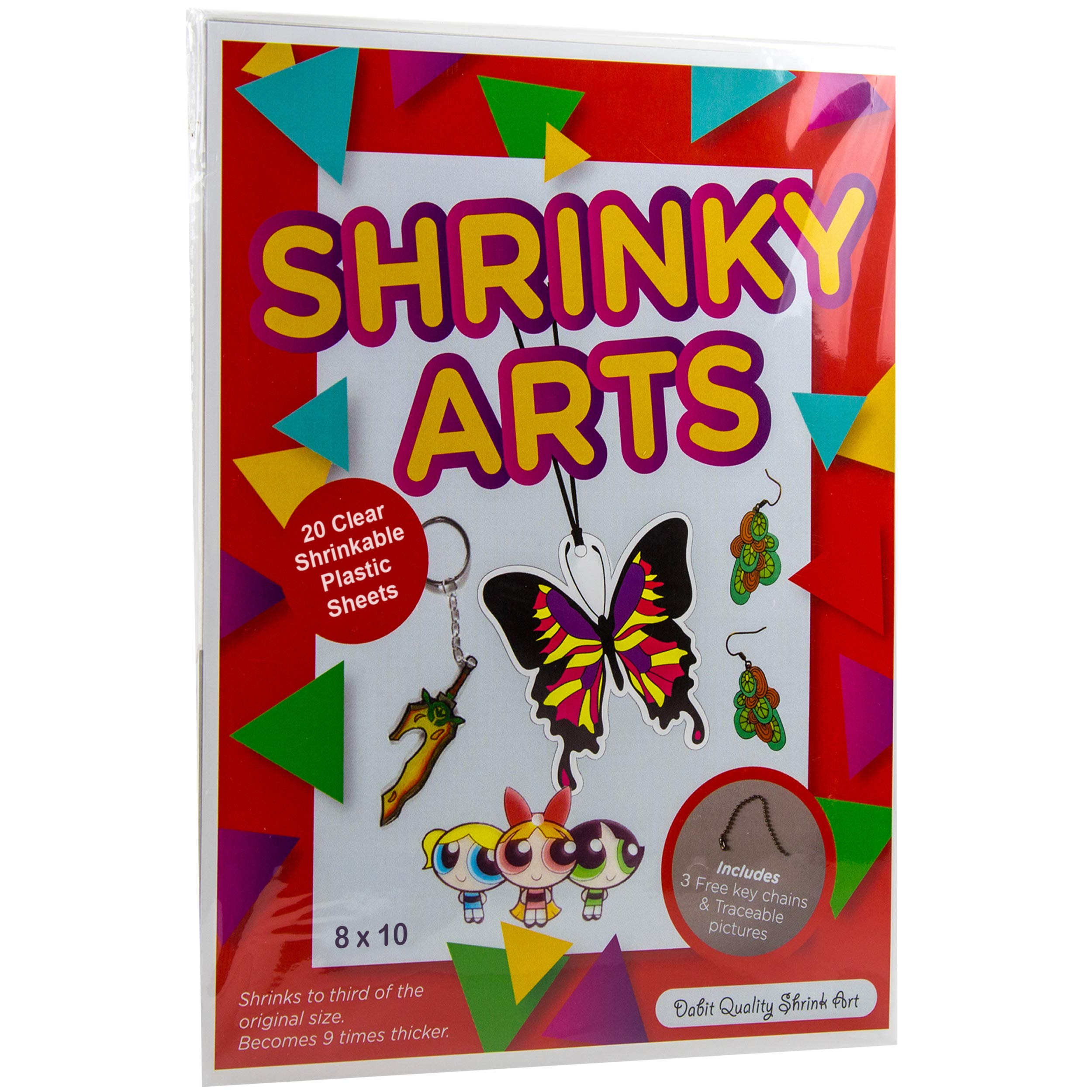 Dabit Shrink Arts And Crafts For Kids 20-Pack, Shrinky A Dinks Paper For Boys And Girls, Clear Shrink Plastic Shrink Film Sheets, Kids Activities For All Ages, Bonus Traceable Pictures And Keychains by Dabit