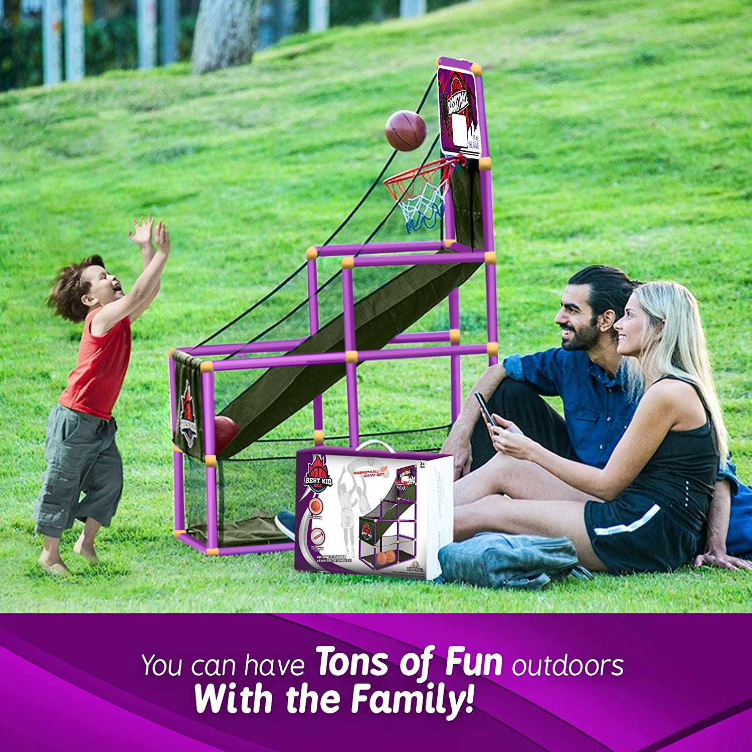 Arcade Purple Basketball Hoop Game by BestKidBall Fun and Entertaining Basement Toys Basketball Hoop for Kids Kids Indoor Sports Toys Basketball Game with Hoop Training System