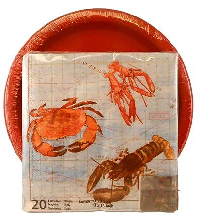 Sea Food Theme Paper Plates and Napkins Bundle of Two Items Paper Plates and Napkins  sc 1 st  Amazon.com & Amazon.com: Sea Food Theme Paper Plates and Napkins Bundle of Two ...