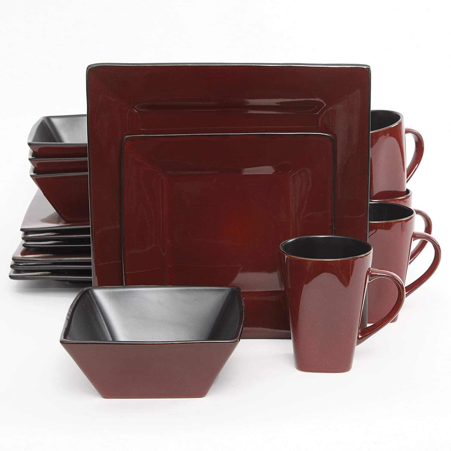 Amazon.com Gibson Kiesling 16 Piece Dinnerware Set Red/Black Kitchen u0026 Dining  sc 1 st  Amazon.com : red square plates set - pezcame.com