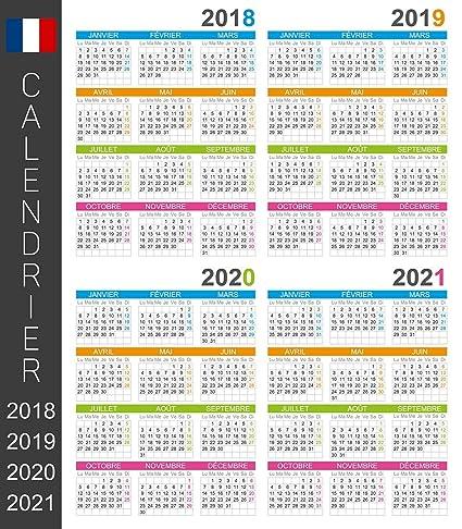 Calendrier Scolaire 2020 Et 2021.Calendrier Du Mur Francais De 2018 2019 2020 2021 Jours Et