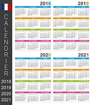 Calendrier Scolaire 2020 Et 2021.2018 2019 2020 2021 French Wall Calendar Days And Months