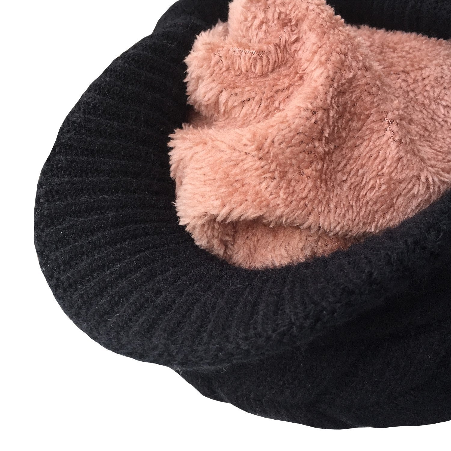 115bd26749d Winter Hat Gloves Scarf Set with Visor Snow Knit Skull Cap Infinity Scarves  Touch Screen Mittens for Women Black