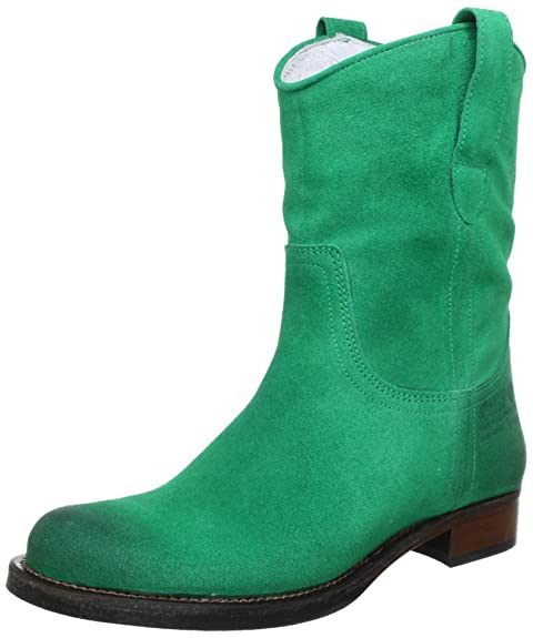 Hip D1887 Green Burned Suede - Botas planas, talla: 38, Color verde - Grün (Green)