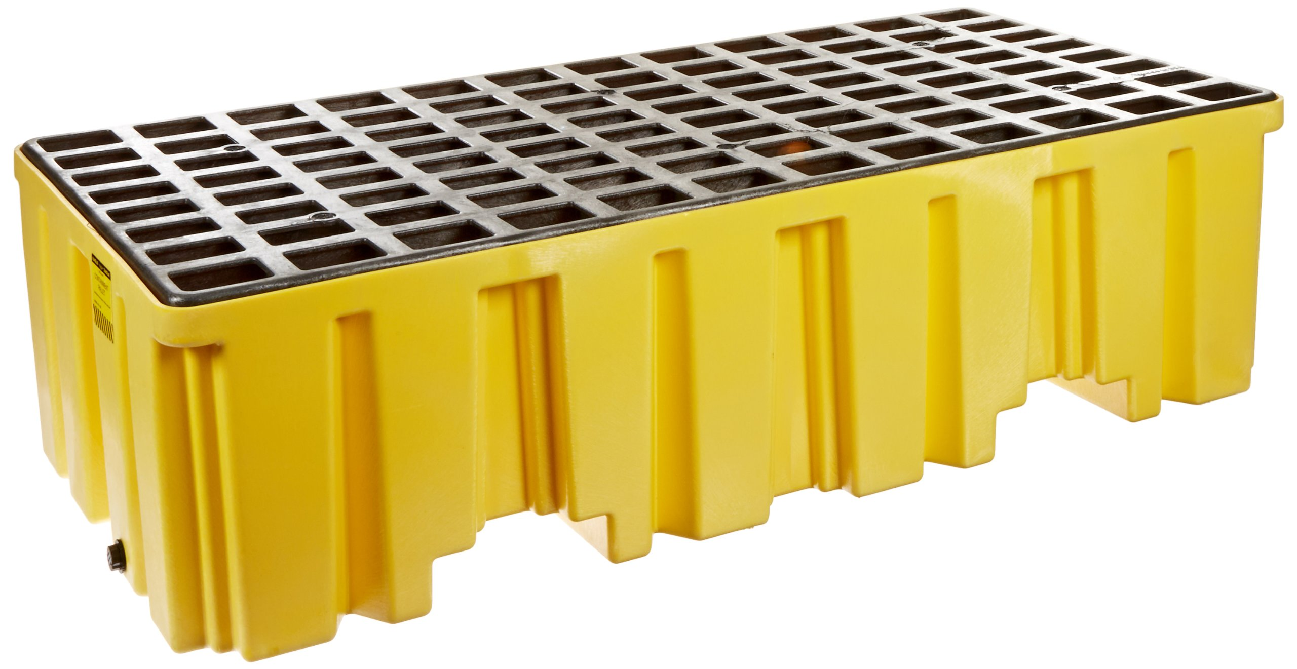 Eagle 1620 Yellow Polyethylene Two Drum Spill Pallet, 4000 lbs Load Capacity, 26.25'' Length, 51'' Width, 13.75'' Height