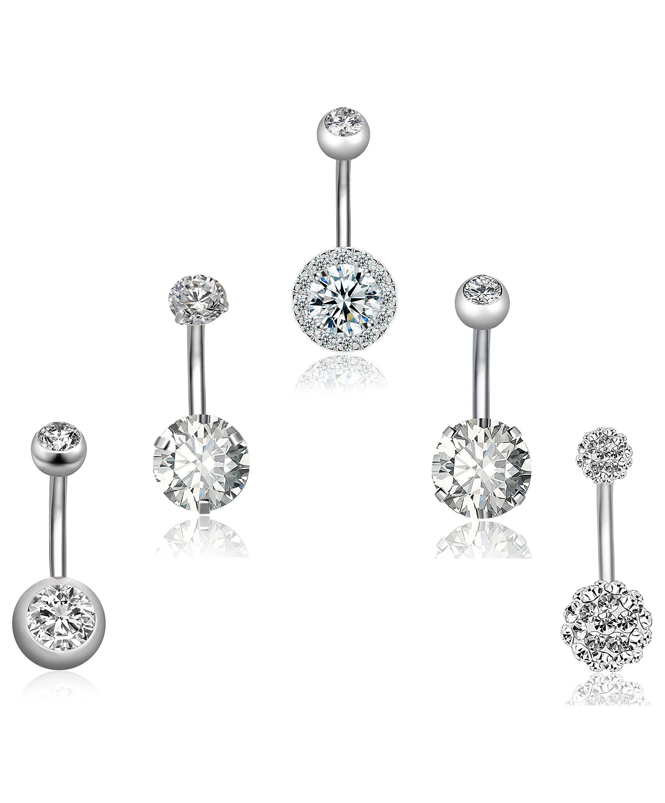REVOLIA 5Pcs 14G Stainless Steel Belly Button Rings for Women Girls Navel Rings CZ Body Piercing S by REVOLIA (Image #2)