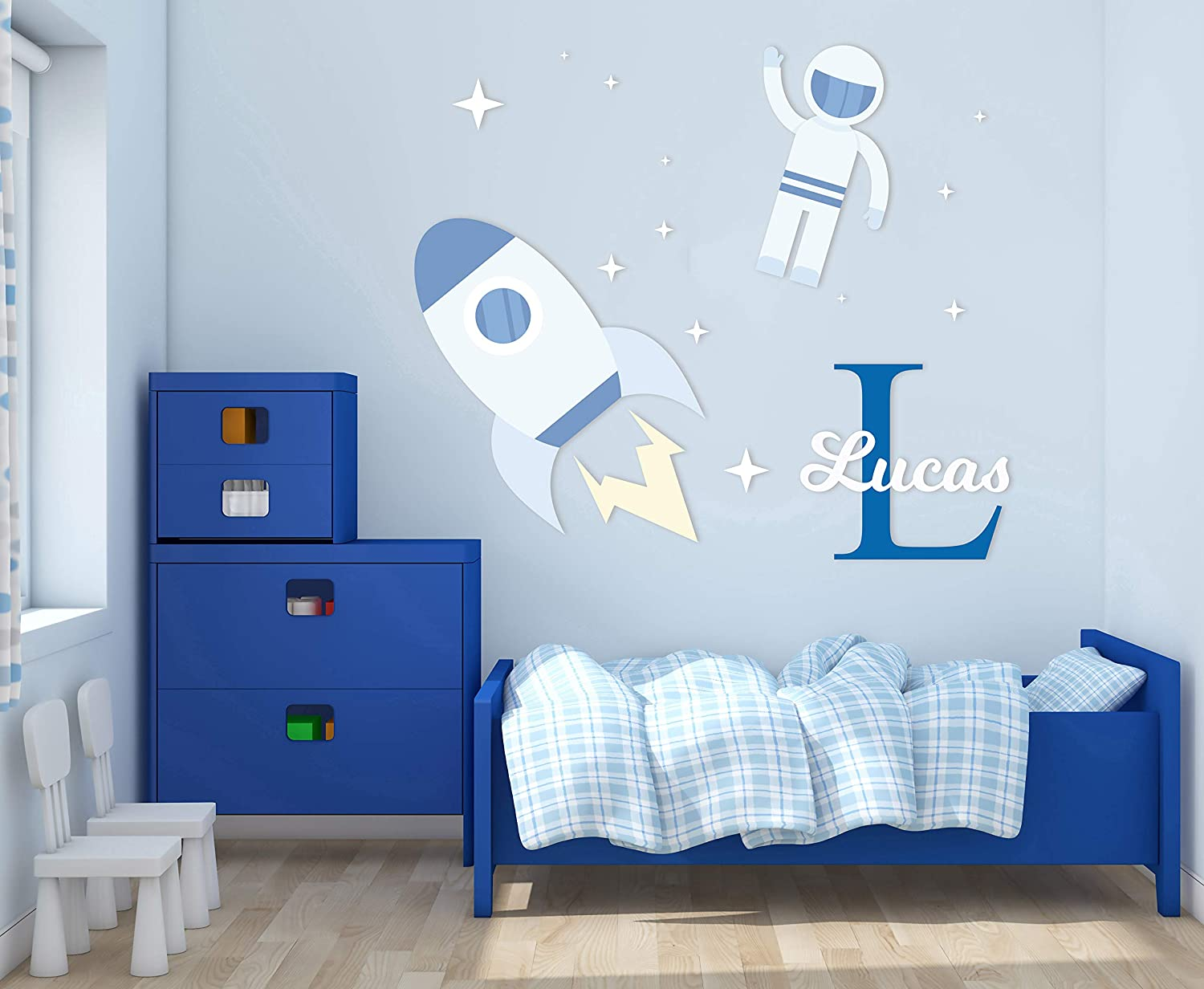 Custom Name & Initial Astronaut Stars Space Rocket - Nursery Wall Decal for Baby Room Decorations - Mural Wall Decal Sticker for Home Children's Bedroom (MM82) (Wide 32