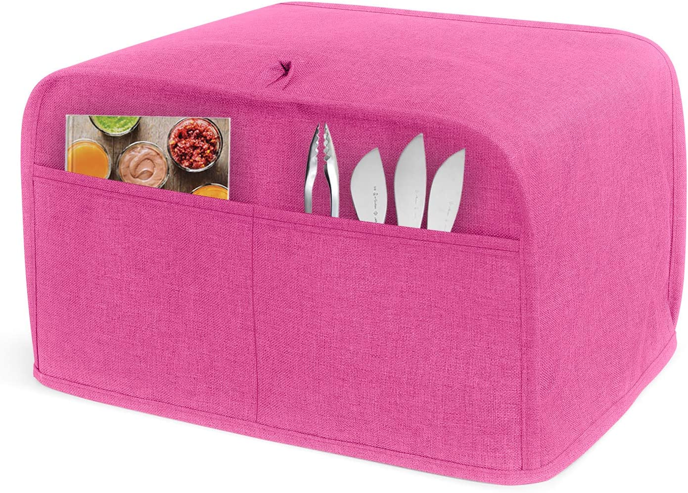 LUXJA 4 Slice Toaster Cover (12.5 x 10 x 8 inches), Toaster Cover with 2 Pockets (Fits for Most Major 4 Slice Toasters), Pink