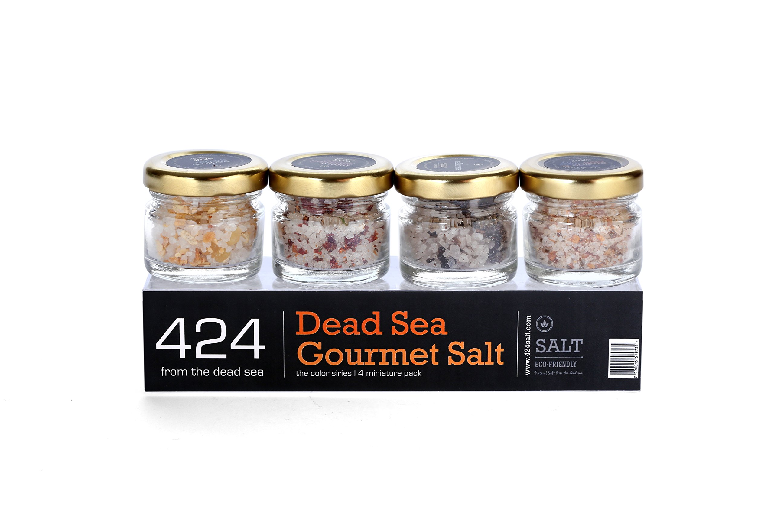 424 Natural Organic Dead Sea Salt – Chef Series Gift set - 4 Pack of Delicately Flavored Natural Dead Sea Salts for Gourmet Cooking and Seasoning - Premium Pure Kosher Sea Salt – Vegan - 4 x 0.88 oz.