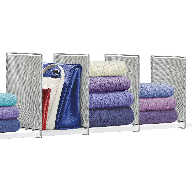 Lynk Vela Shelf Dividers - Closet Shelf Organizer (Set of 4) - Platinum 142061DS