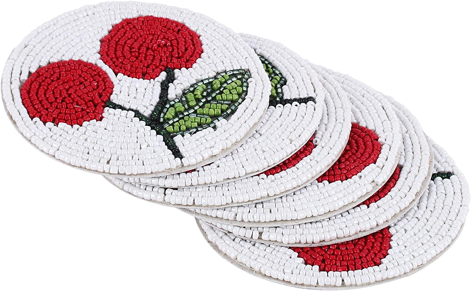 Hand Beaded Cherry Coaster 4