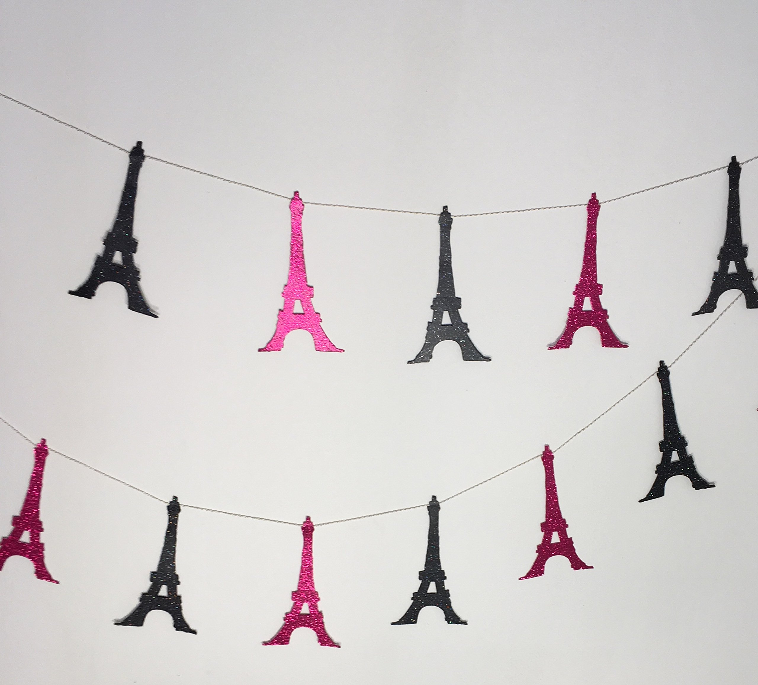 Eiffel Tower Double Sided Glitter Garland, Paris Themed Party, Bridal Shower 8 feet long by Little Factory Crafts