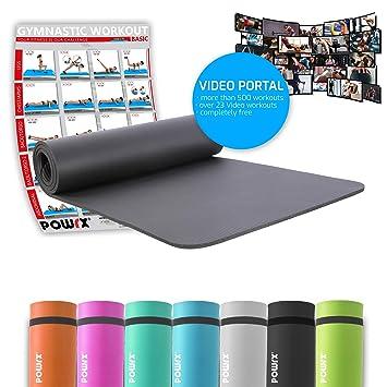 POWRX – Esterilla fitness ANTIDESLIZANTE con tirante – Ideal para ejercicios de Yoga, Pilates,