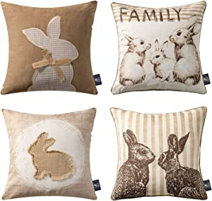 Phantoscope Easter Throw Pillow Cover Decorative Spring Series Rabbit Family Beige Pillowcase Pack of 4,18 x 18 inches 45 x 45 cm