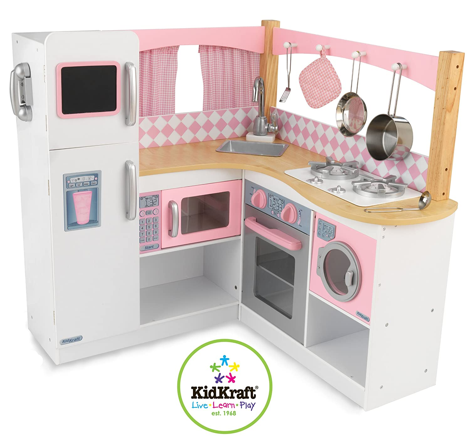 Kid Craft Retro Kitchen Amazoncom Kidkraft Grand Gourmet Corner Kitchen Toys Games