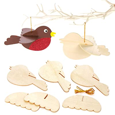 Baker Ross 3D Wooden Birds Craft Project — Ideal for Kids' Arts and Crafts, Educational Toys, Gifts, Keepsakes and More (Pack of 6): Toys & Games