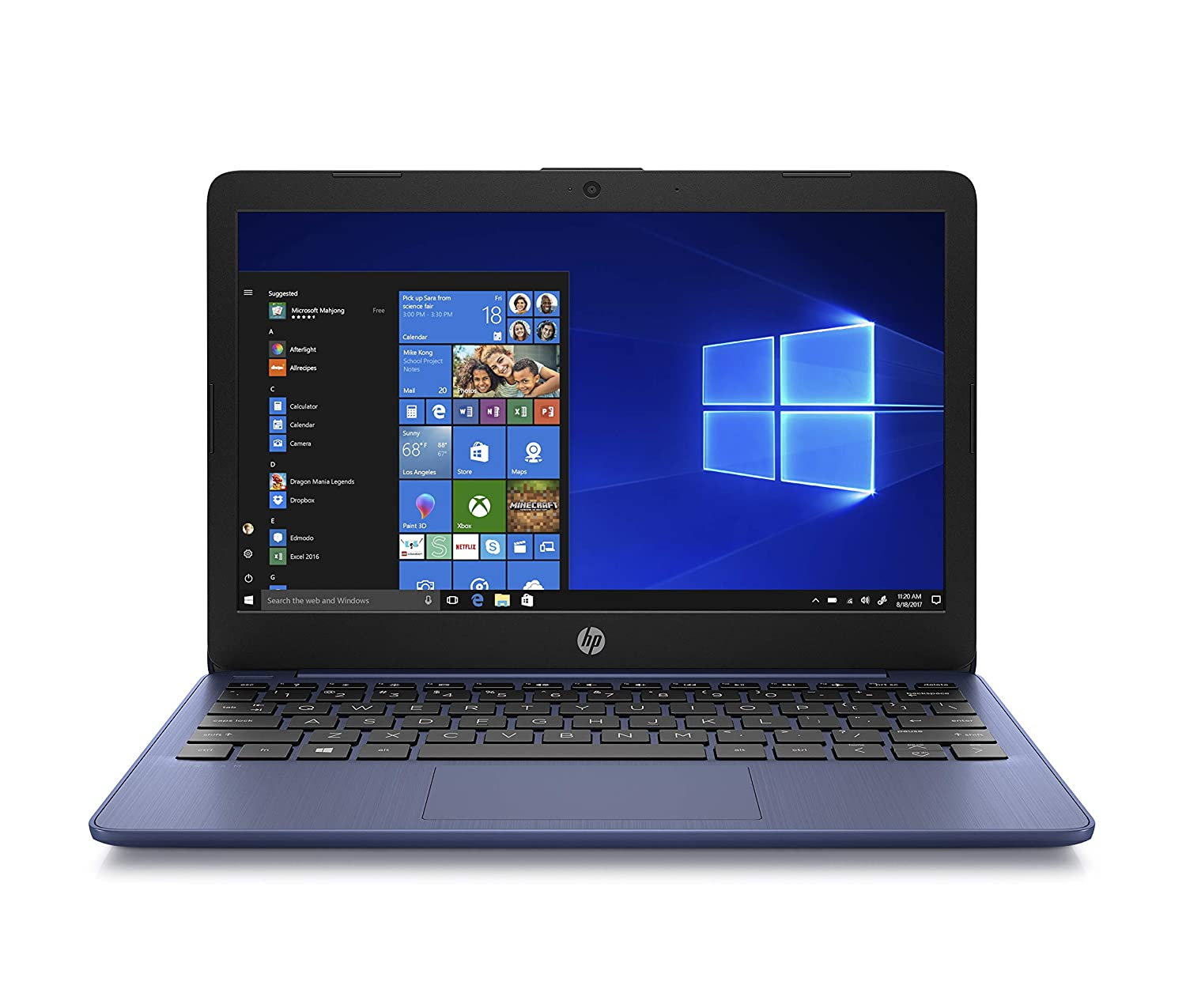 HP Stream 11-Inch Laptop, Intel X5-E8000 Processor, 4 GB RAM, 32 GB eMMC, Windows 10 Home in S Mode with Office 365 Personal and 1 TB Onedrive Storage for One Year (11-ak1010nr, Royal Blue)