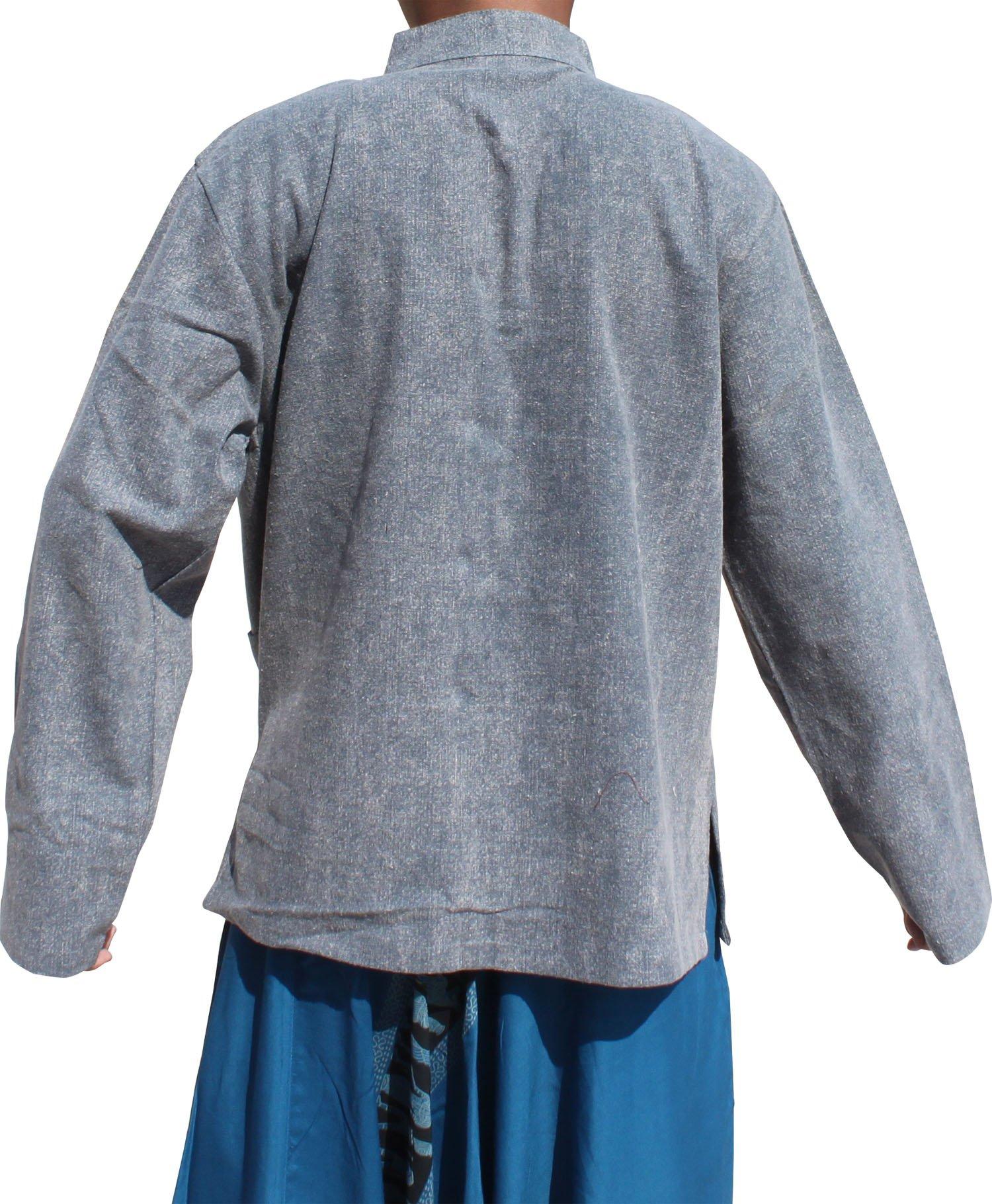 Raan Pah Muang Stonewash Medieval Cotton Shirt Chinese Jacket Collar Long Sleeve Plus, XX-Large, Gray by Raan Pah Muang (Image #2)