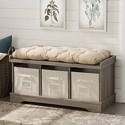 New 42 Inch Wide Storage Bench with Totes and Cushion in Driftwood Finish