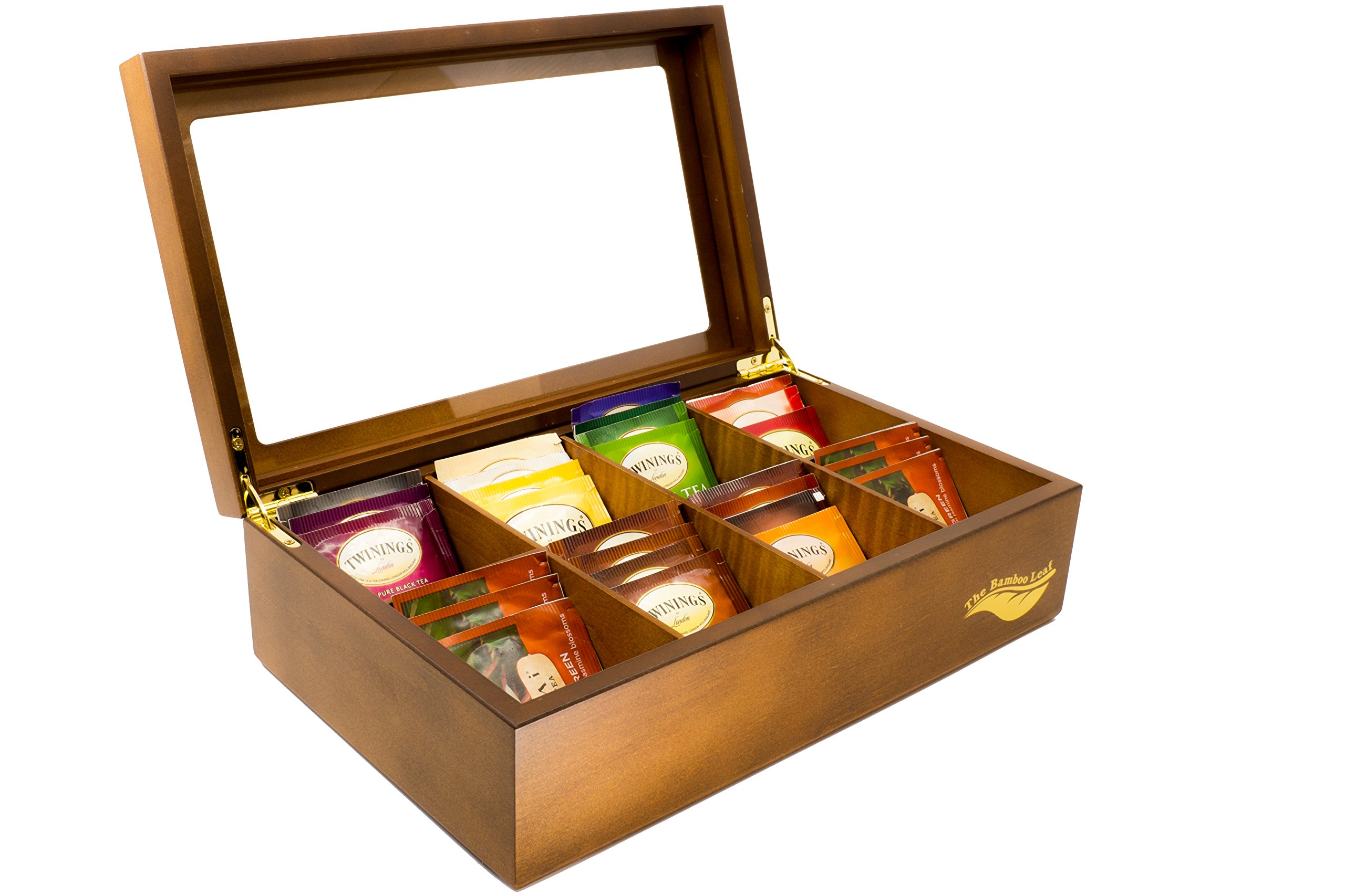 The Bamboo Leaf Wooden Tea Storage Chest Box with 8 Compartments and Glass Window (Walnut)