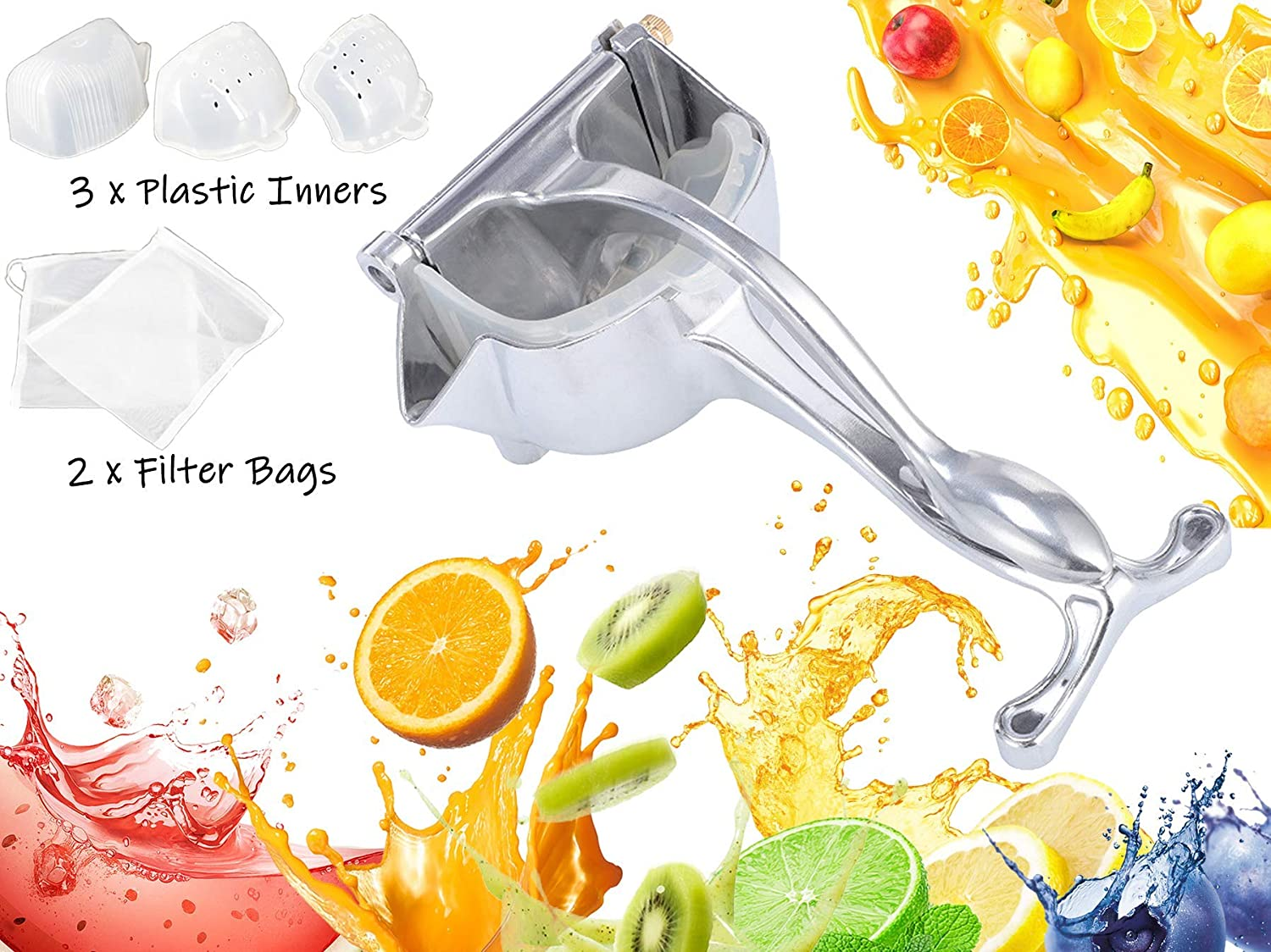 YT Home Orange Citrus Manual Juicer Lemon Lime Hand Squeezer Handheld Press Premium Quality Sturdy Metal Alloy Heavy Duty for Party Cocktail Drinks Mocktail