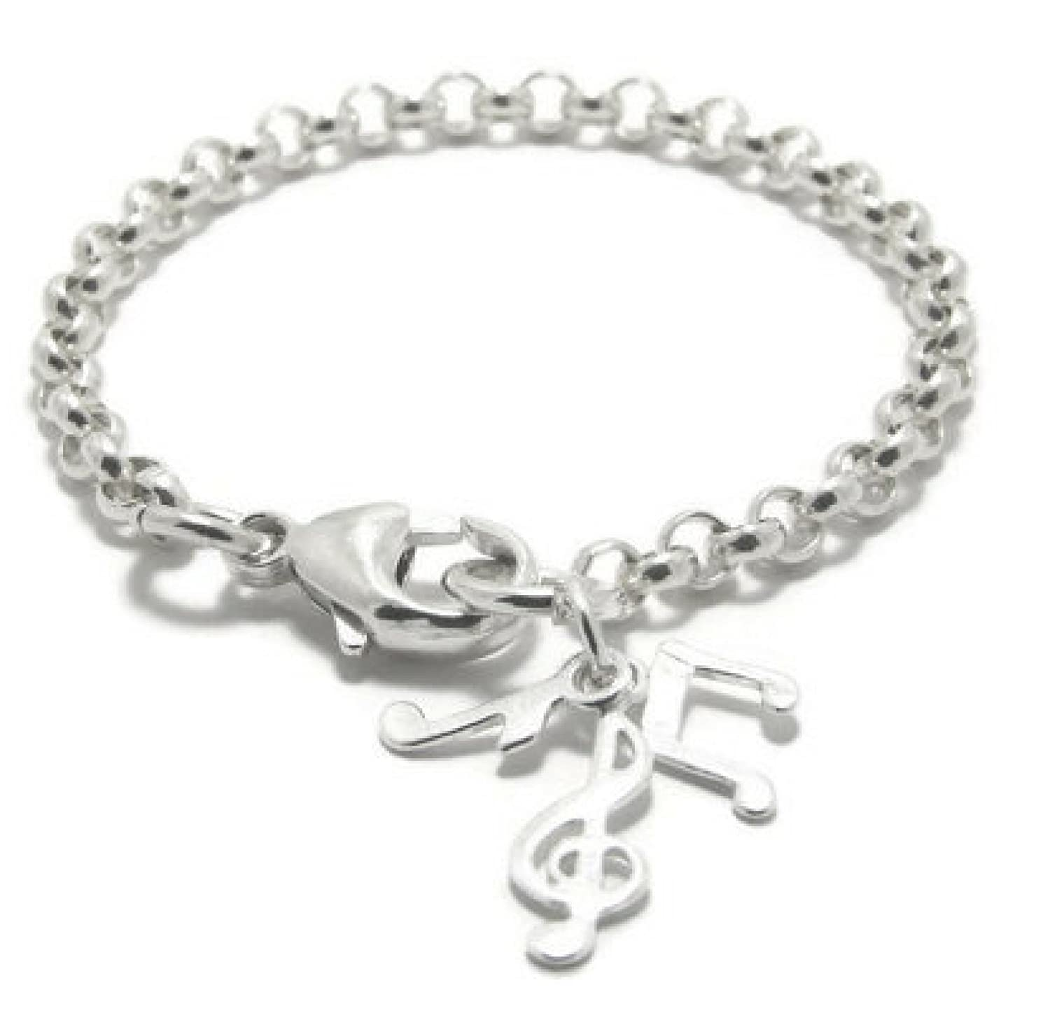 Silver music note bracelet sterling silver music bracelet silver music note charms sterling silver rolo chain music jewelry 925