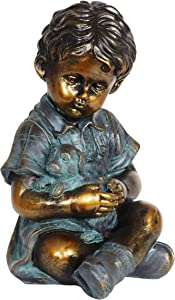 Exhart Child & Puppy Garden Statue – Bronze Look Boy & Dog Statue – Child Statue Best for Porch, Yard, Patio, Garden, Stone Like Boy Statue, Classic Garden Décor - 10.5""
