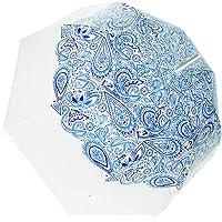 SMATI Paraguas Largo Transparente Forma de Campana Muy Solido con su apuerta automatica(Azul Cachemira)