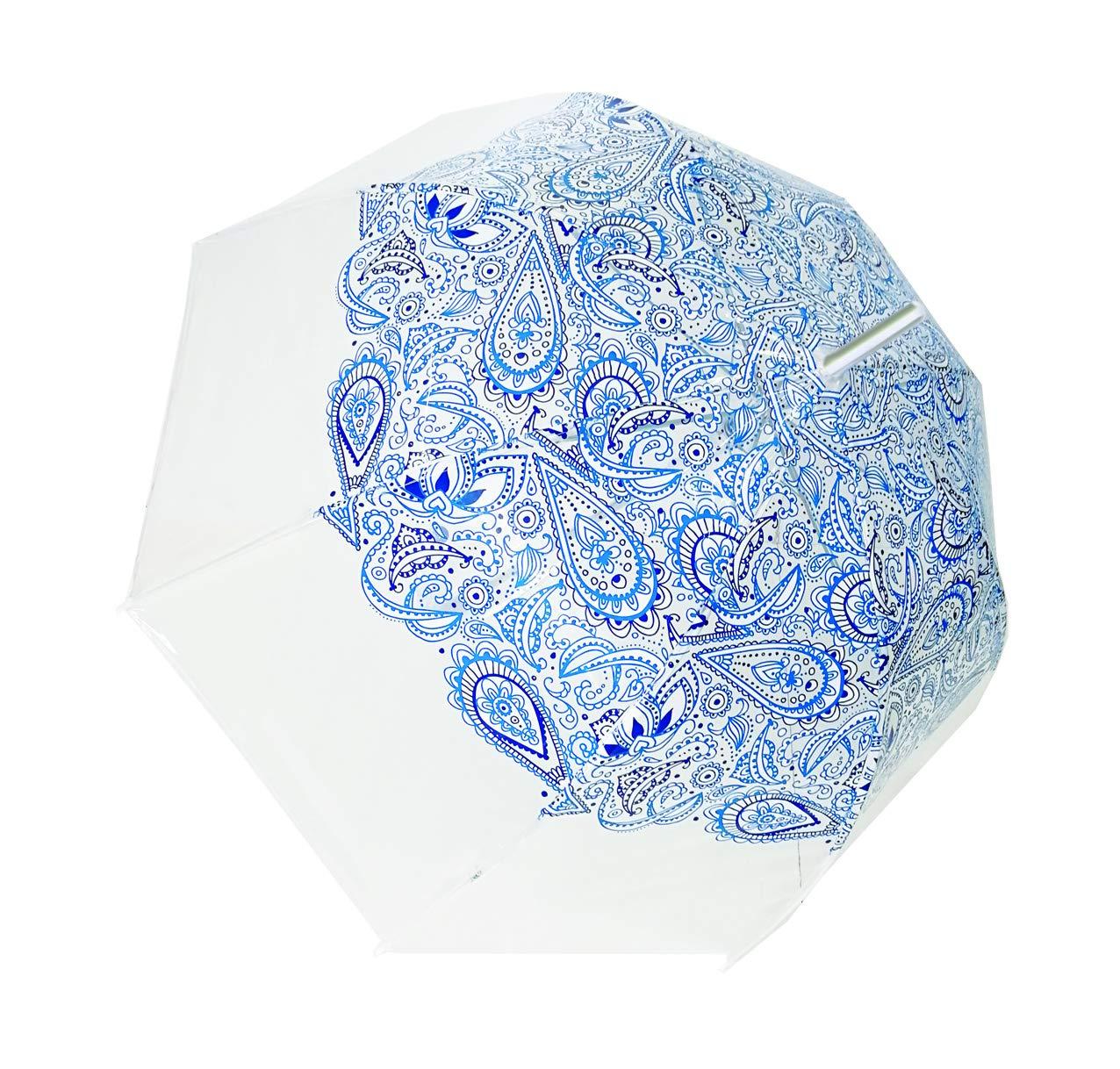 SMATI Paraguas Largo Manual Transparente Forma de Campana automático-Estampado - Estrella - Muy Sólido (Azul Cachemira)