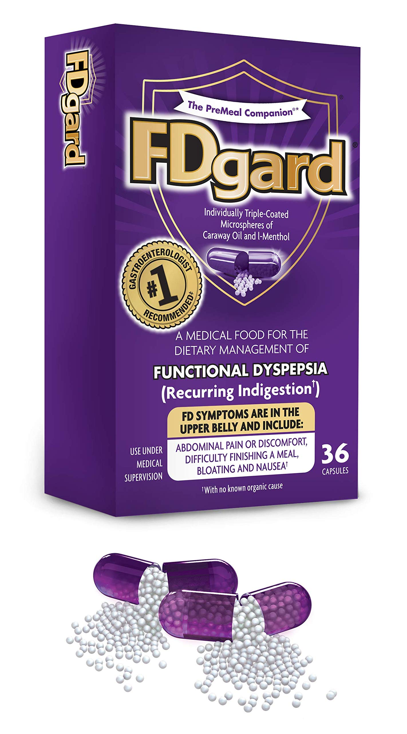FDgard® for Functional Dyspepsia (Recurring Indigestion), 36 Capsules