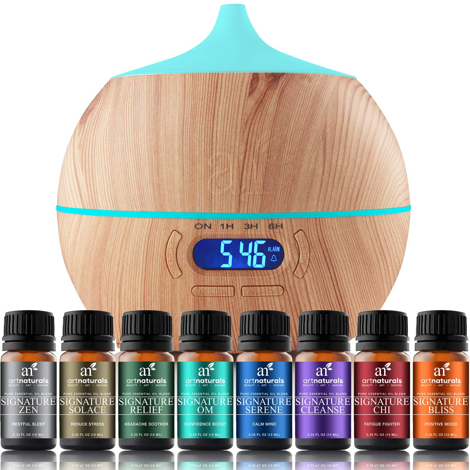 ArtNaturals Essential Oil Blends and Diffuser Set - (8 x 10ml Oils, 400ml Tank) - Aromatherapy Gift Set - Bluetooth Diffuser with LED Lights and Auto Shut Off - for All Rooms