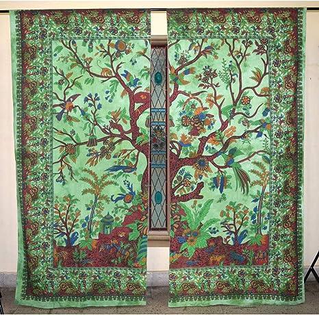 indio tapiz tratamientos para ventanas algodón Conjunto de 2 ...