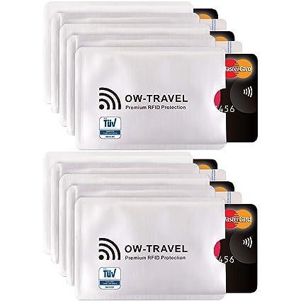 Bloqueo RFID - ANTI FRAUDE - Protectores para Tarjetas de Crédito Débito Sanitaria Identificaciones - Protector Pasaporte - Protección 100% de RFID & ...