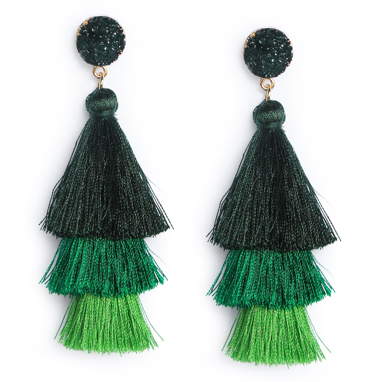 Me&Hz Women Green Tassel Earring Dangle Tiered Fringe Tassel Earrings Boho Druzy Studs Tassel Jewelry Gifts
