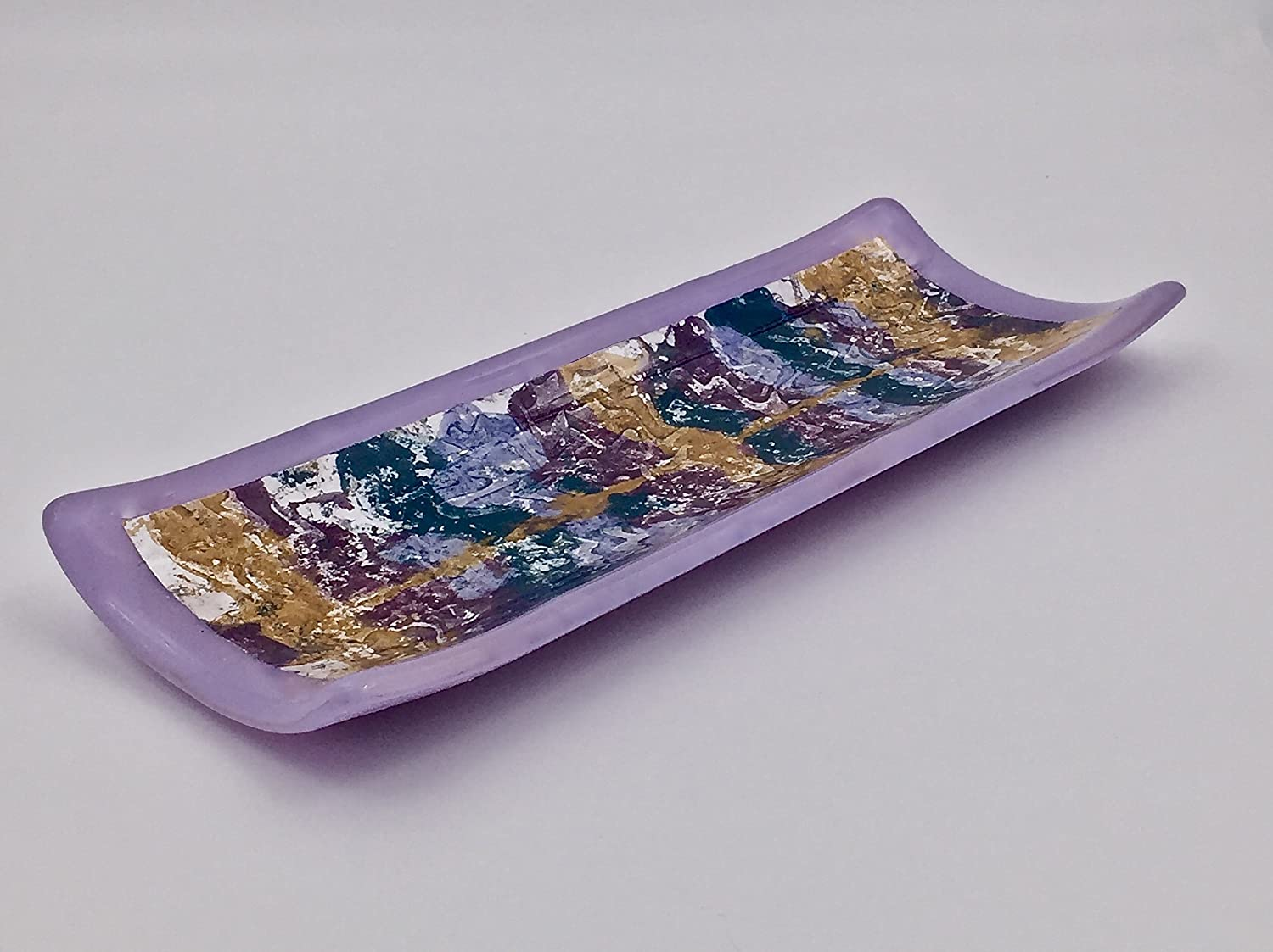 Lavender Purple Fused Glass Decorative Plate