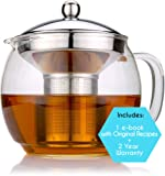 Amazon Price History for:Glass Teapot with Infuser for Blooming and Loose Leaf Tea Pot by Cozyna | Holds 3-4 Cups | Includes Recipe Book