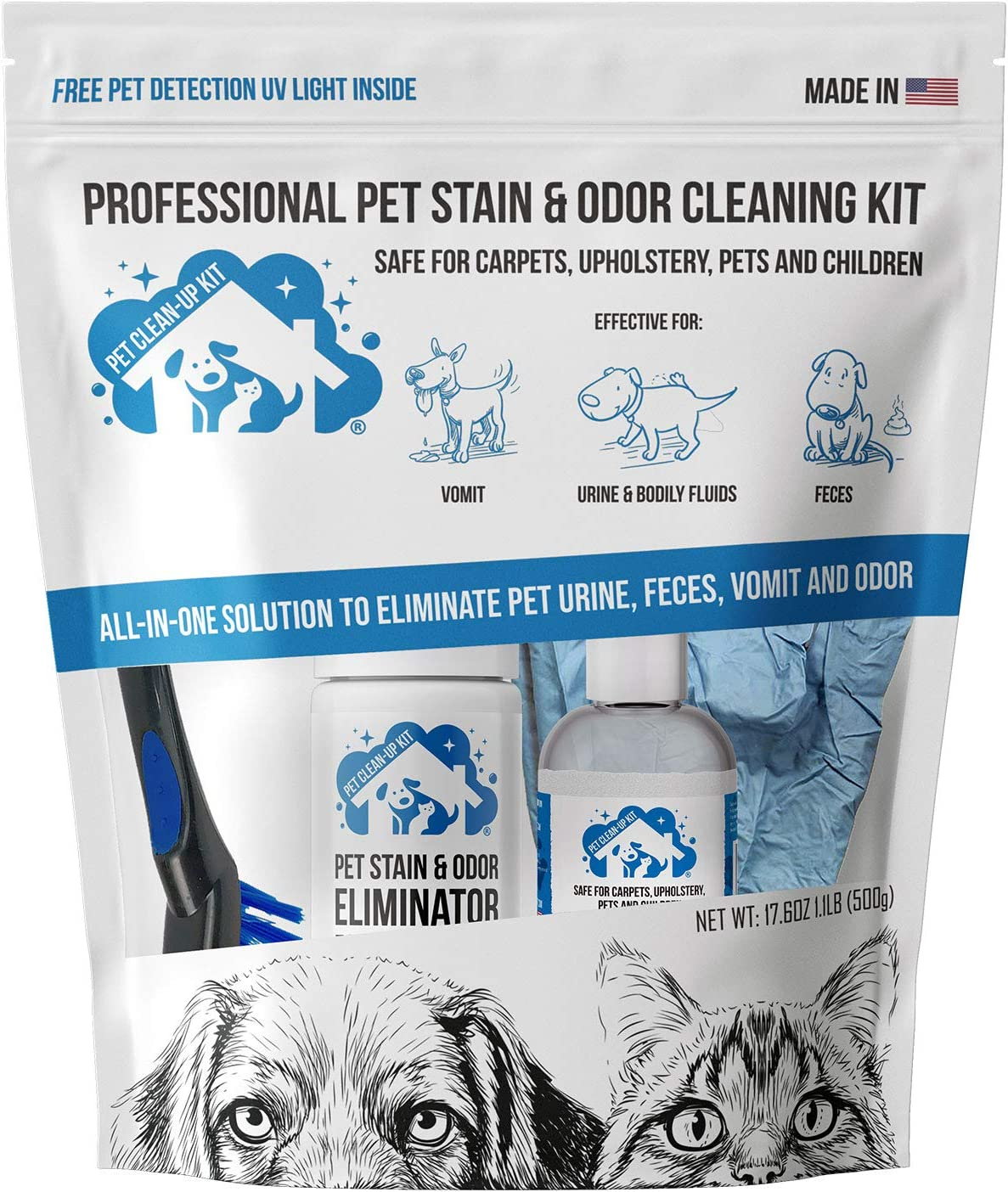 Professional Pet Stain & Odor Cleaning Kit | Carpet Stain Remover - Clean Dog and Cat Urine, Feces, Vomit - Eliminate Odor & Smell Instantly