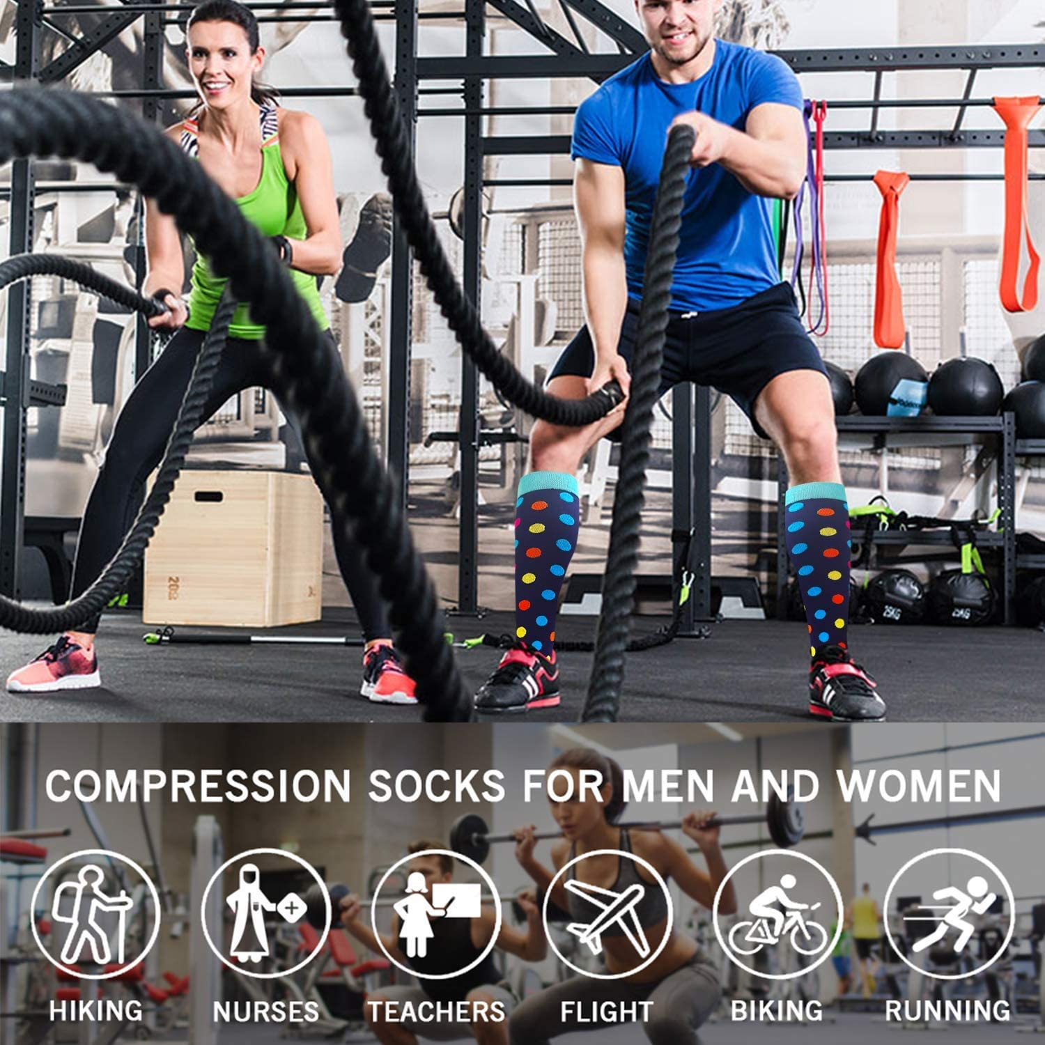 Best For Running,Athletic,Medical,Pregnancy and Travel 7//8 Pairs Compression Socks Men Women 20-30 mmHg 2020 New Style