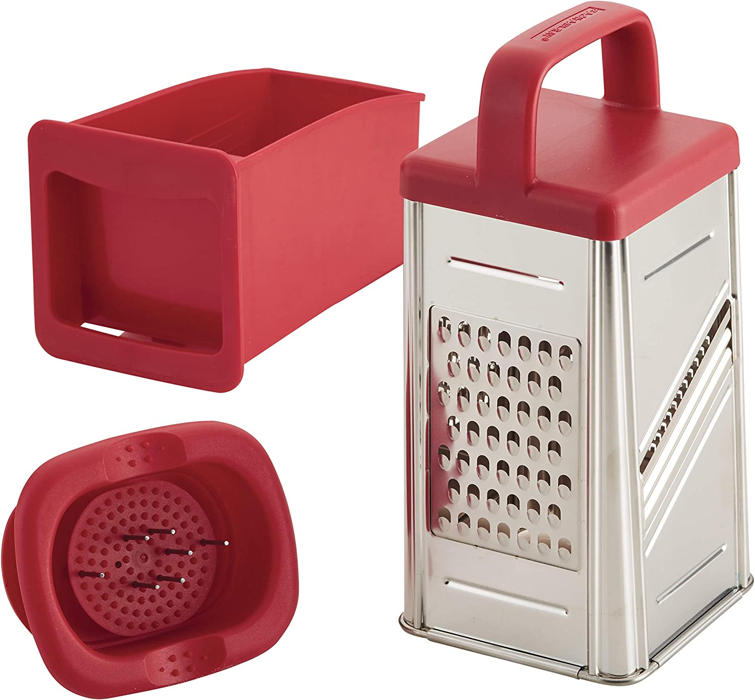 Rachael Ray 47649 Box Stainless Steel Grater, 4 cup, Red