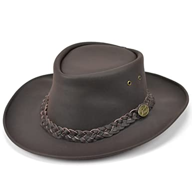 Australian bush hat brown genuine leather high quality hardwearing (Small) 95df1d14dc