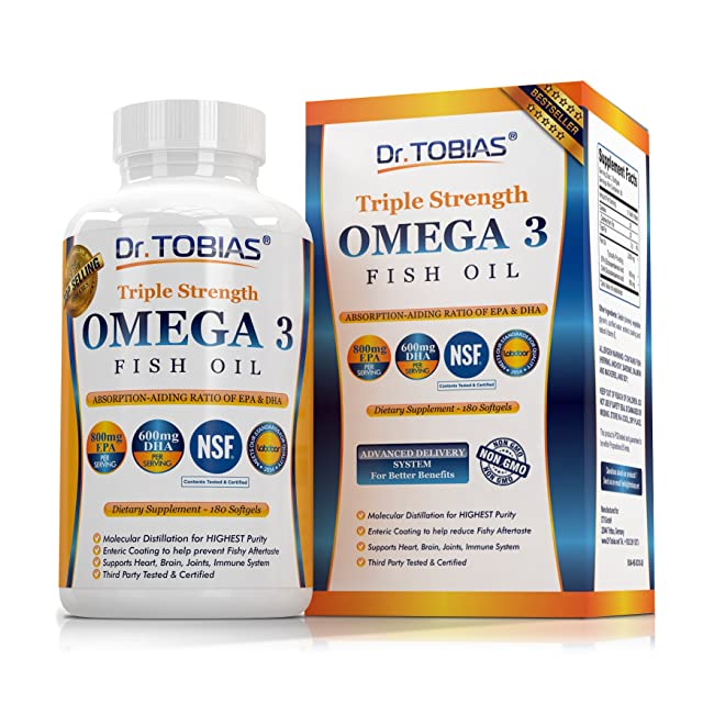 Dr. Tobias Omega 3 Fish Oil Triple Strength, B...