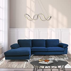 NOUVCOO 2021 Velvet Sectional Sofa Couch with Extra Wide Chaise Lounge for Living Room,Navy Blue