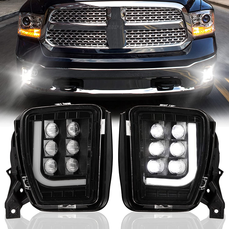 LED Fog Lights with Daytime Running Lights for Dodge Ram 1500 Pickup 2013 2014 2015 2016 2017 2018 Truck Fog Light Assembly Driving Fog lamps Plug & Play