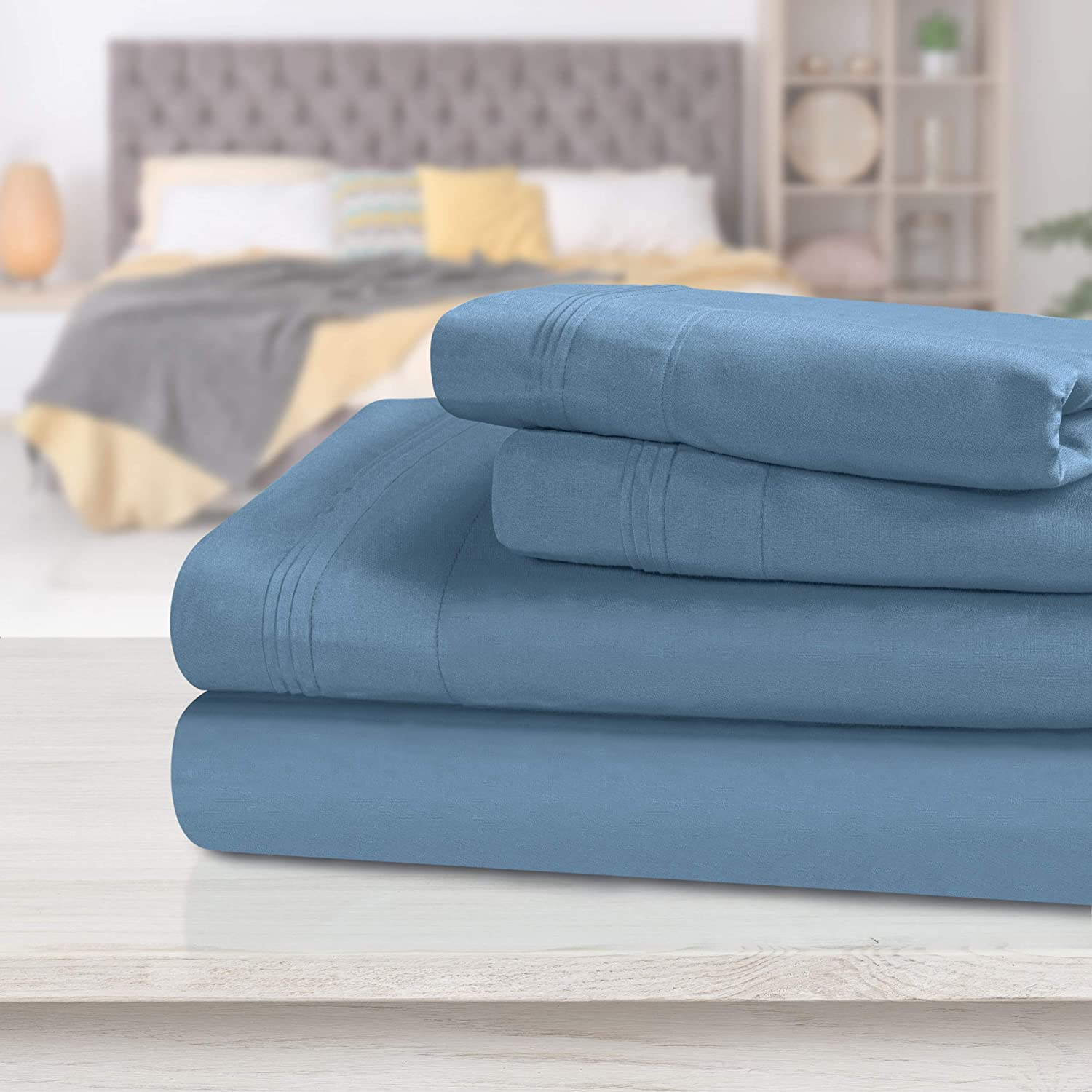 Top Quality Bedding Collection 1000TC Egyptian Cotton All Sizes Egyptian Blue